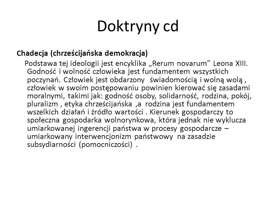 Doktryny cd Chadecja (chrześcijańska demokracja) Podstawa tej ideologii jest encyklika Rerum novarum Leona XIII. Godność i wolność człowieka jest fund