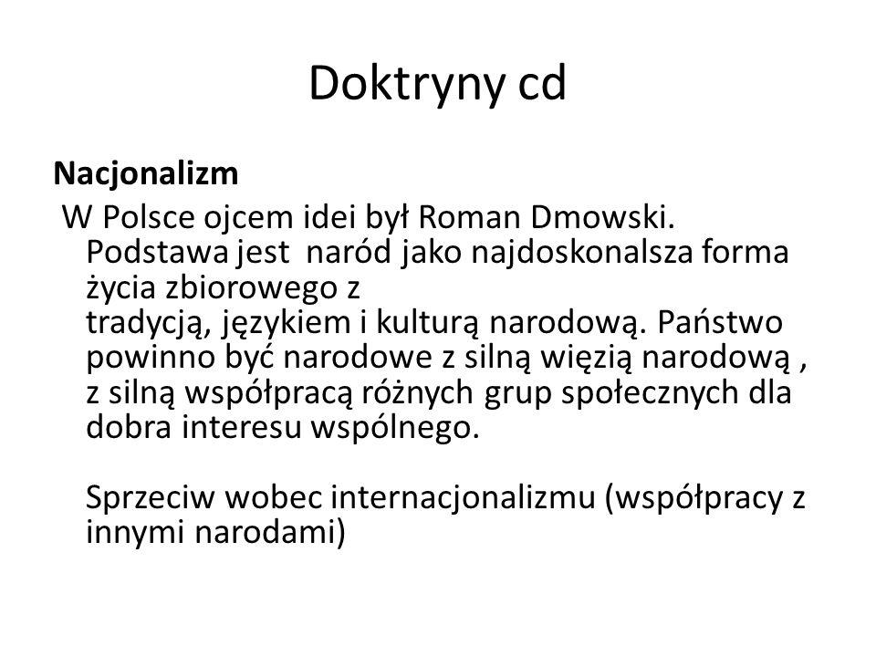 Doktryny cd Nacjonalizm W Polsce ojcem idei był Roman Dmowski. Podstawa jest naród jako najdoskonalsza forma życia zbiorowego z tradycją, językiem i k
