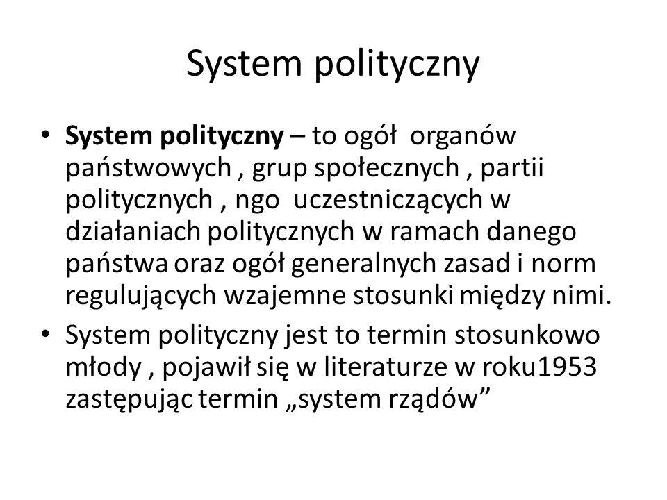 System polityczny System polityczny – to ogół organów państwowych, grup społecznych, partii politycznych, ngo uczestniczących w działaniach polityczny