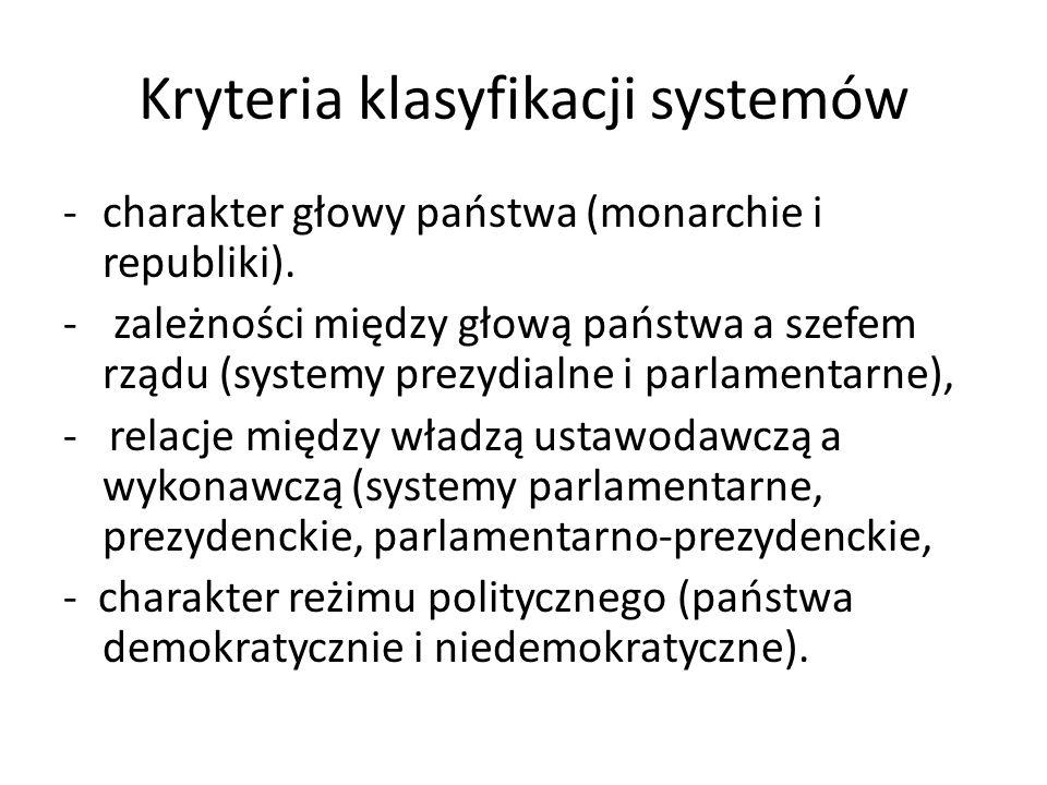 Kryteria klasyfikacji systemów -charakter głowy państwa (monarchie i republiki). - zależności między głową państwa a szefem rządu (systemy prezydialne