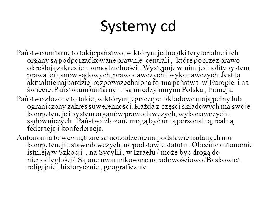 Systemy cd Państwo unitarne to takie państwo, w którym jednostki terytorialne i ich organy są podporządkowane prawnie centrali, które poprzez prawo ok