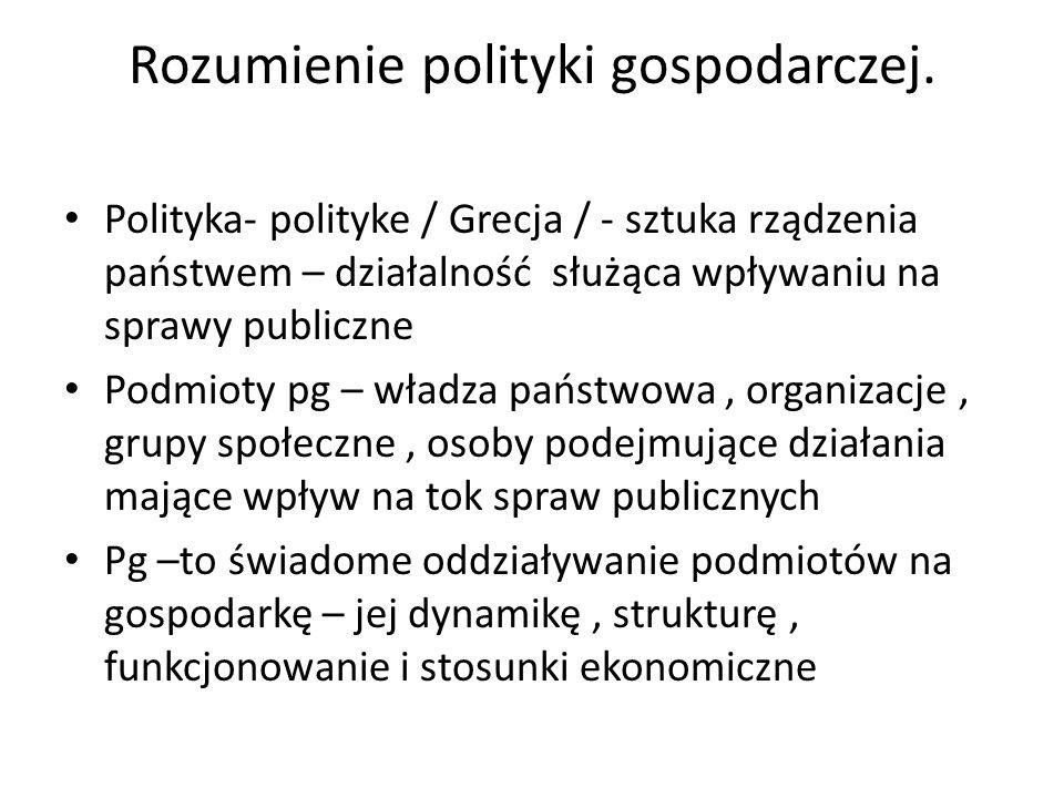 Rozumienie polityki gospodarczej. Polityka- polityke / Grecja / - sztuka rządzenia państwem – działalność służąca wpływaniu na sprawy publiczne Podmio