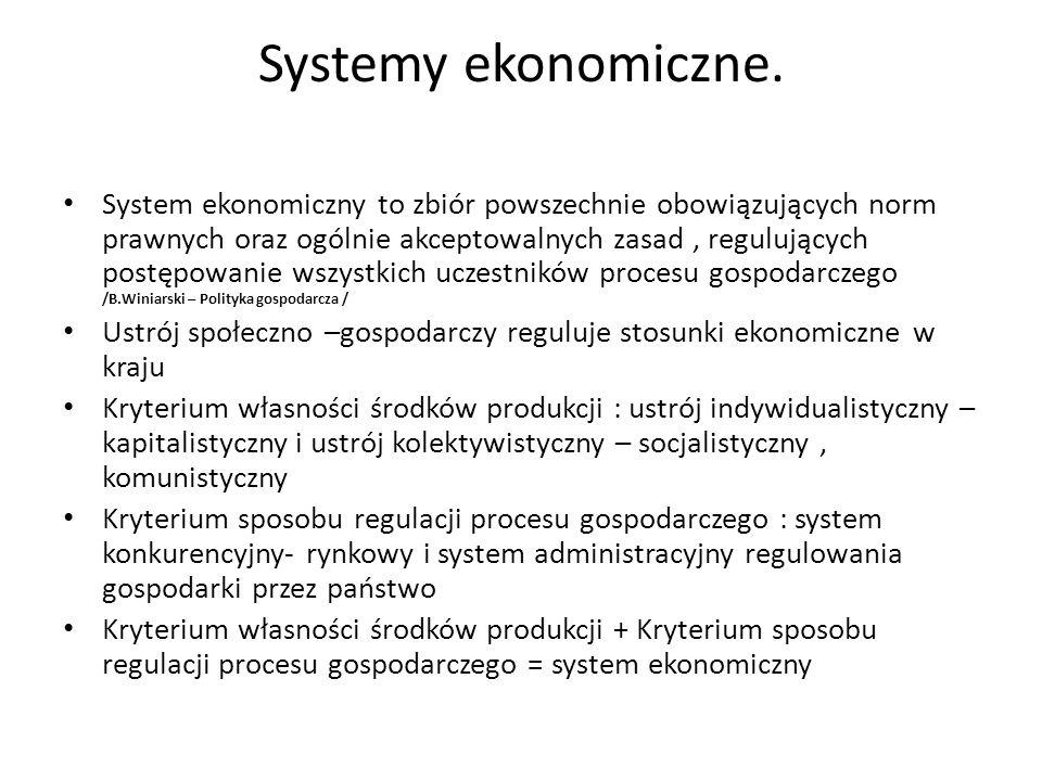 Systemy ekonomiczne. System ekonomiczny to zbiór powszechnie obowiązujących norm prawnych oraz ogólnie akceptowalnych zasad, regulujących postępowanie
