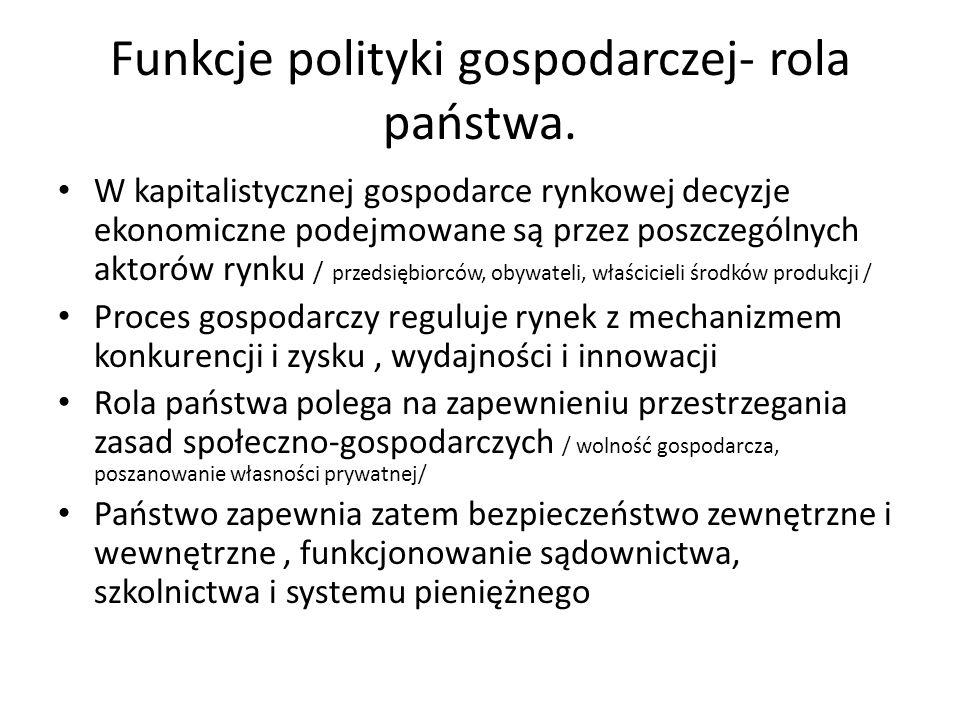 Funkcje polityki gospodarczej- rola państwa. W kapitalistycznej gospodarce rynkowej decyzje ekonomiczne podejmowane są przez poszczególnych aktorów ry