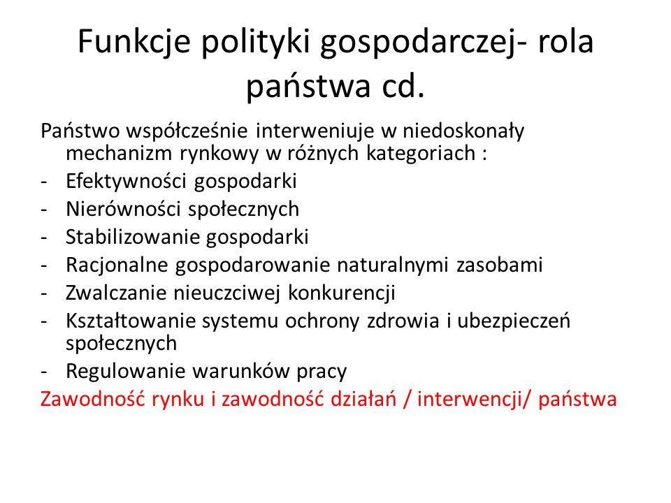Cele polityki gospodarczej Systemowo – polityczne / suwerenność, sprawiedliwość, Ekonomiczne /wzrost gospodarczy, przemiany strukturalne/ Społeczne/sprawiedliwy podział dochodu, dostęp do ochrony zdrowia i szkolnictwa, gwarancja zatrudnienia, zabezpieczenie społeczne/ Ekologiczne / ochrona środowiska/ Obronno –militarne / utrzymanie na poziomie struktur obronnych, utrzymanie rezerw produktów strategicznych/