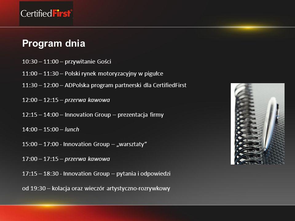 Program dnia 10:30 – 11:00 – przywitanie Gości 11:00 – 11:30 – Polski rynek motoryzacyjny w pigułce 11:30 – 12:00 – ADPolska program partnerski dla CertifiedFirst 12:00 – 12:15 – przerwa kawowa 12:15 – 14:00 – Innovation Group – prezentacja firmy 14:00 – 15:00 – lunch 15:00 – 17:00 - Innovation Group – warsztaty 17:00 – 17:15 – przerwa kawowa 17:15 – 18:30 - Innovation Group – pytania i odpowiedzi od 19:30 – kolacja oraz wieczór artystyczno-rozrywkowy