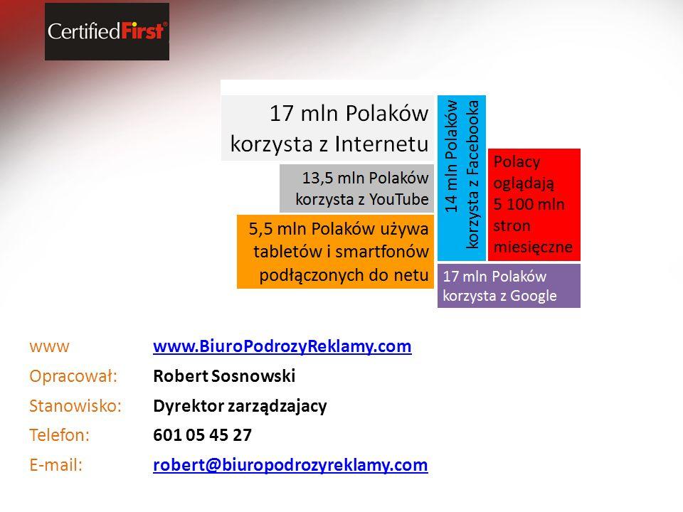 wwwwww.BiuroPodrozyReklamy.com Opracował:Robert Sosnowski Stanowisko:Dyrektor zarządzajacy Telefon:601 05 45 27 E-mail:robert@biuropodrozyreklamy.com