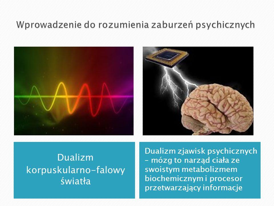 Dualizm korpuskularno-falowy światła Dualizm zjawisk psychicznych – mózg to narząd ciała ze swoistym metabolizmem biochemicznym i procesor przetwarzaj