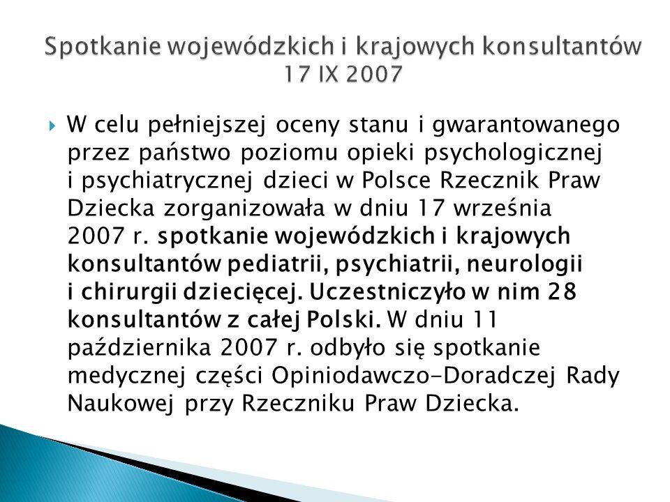 W celu pełniejszej oceny stanu i gwarantowanego przez państwo poziomu opieki psychologicznej i psychiatrycznej dzieci w Polsce Rzecznik Praw Dziecka zorganizowała w dniu 17 września 2007 r.