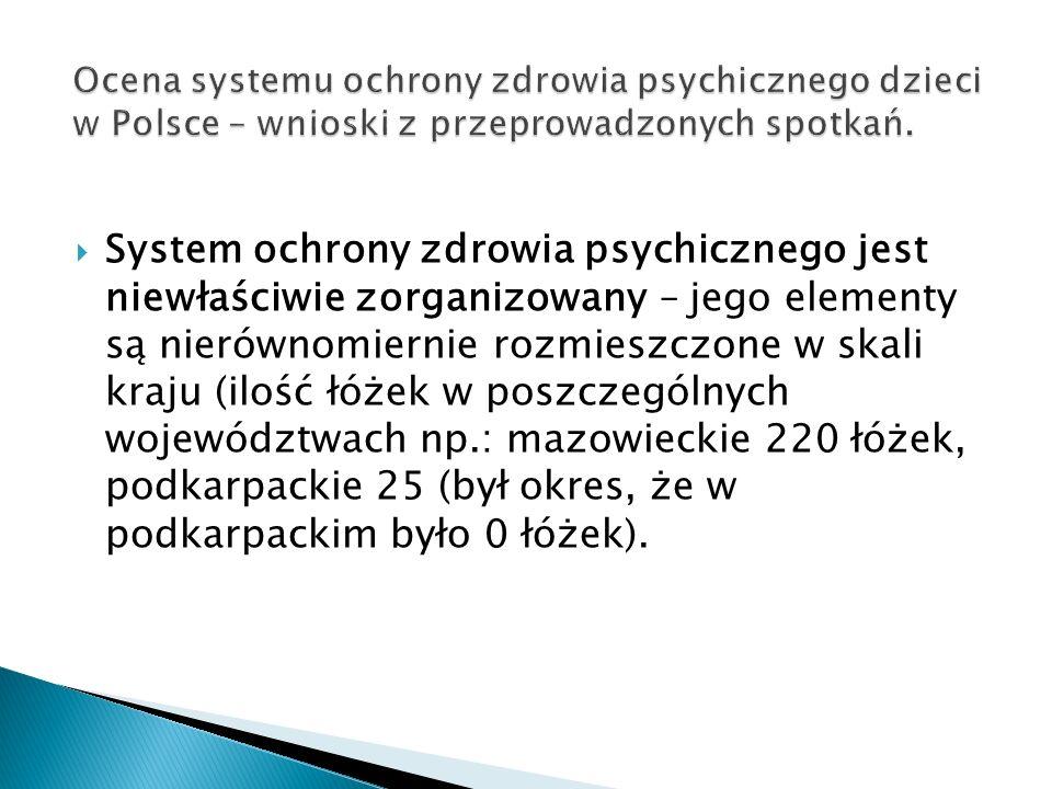 System ochrony zdrowia psychicznego jest niewłaściwie zorganizowany – jego elementy są nierównomiernie rozmieszczone w skali kraju (ilość łóżek w poszczególnych województwach np.: mazowieckie 220 łóżek, podkarpackie 25 (był okres, że w podkarpackim było 0 łóżek).