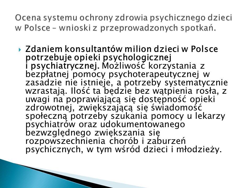 Zdaniem konsultantów milion dzieci w Polsce potrzebuje opieki psychologicznej i psychiatrycznej. Możliwość korzystania z bezpłatnej pomocy psychoterap