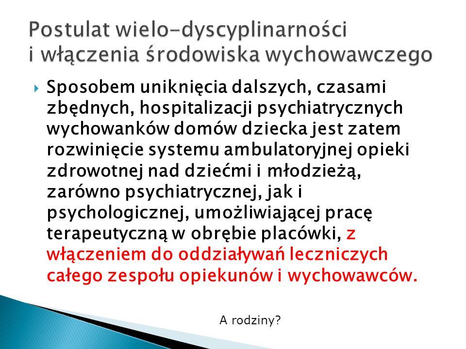 Sposobem uniknięcia dalszych, czasami zbędnych, hospitalizacji psychiatrycznych wychowanków domów dziecka jest zatem rozwinięcie systemu ambulatoryjne