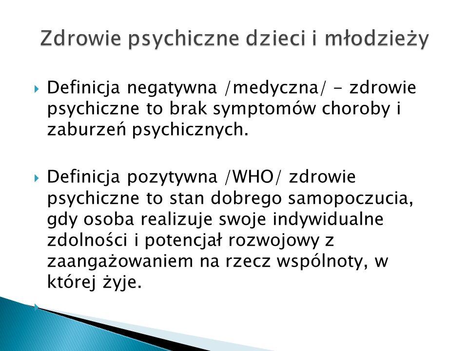 Definicja negatywna /medyczna/ - zdrowie psychiczne to brak symptomów choroby i zaburzeń psychicznych. Definicja pozytywna /WHO/ zdrowie psychiczne to