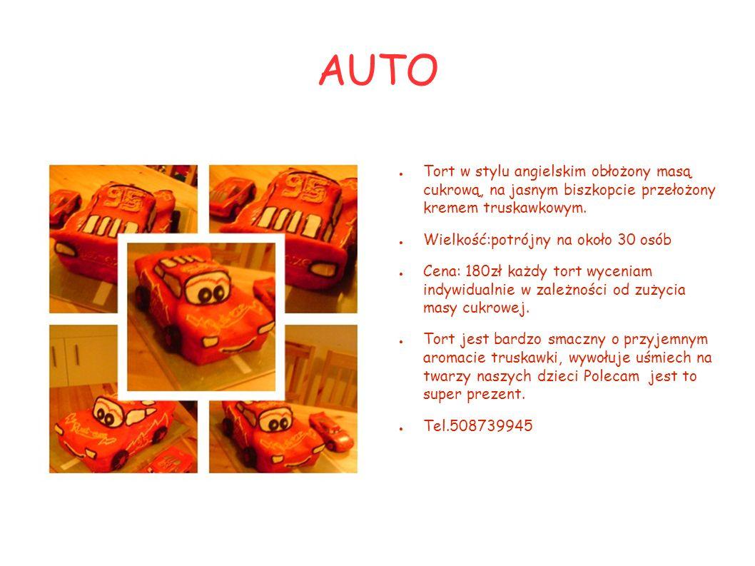 AUTO Tort w stylu angielskim obłożony masą cukrową, na jasnym biszkopcie przełożony kremem truskawkowym. Wielkość:potrójny na około 30 osób Cena: 180z