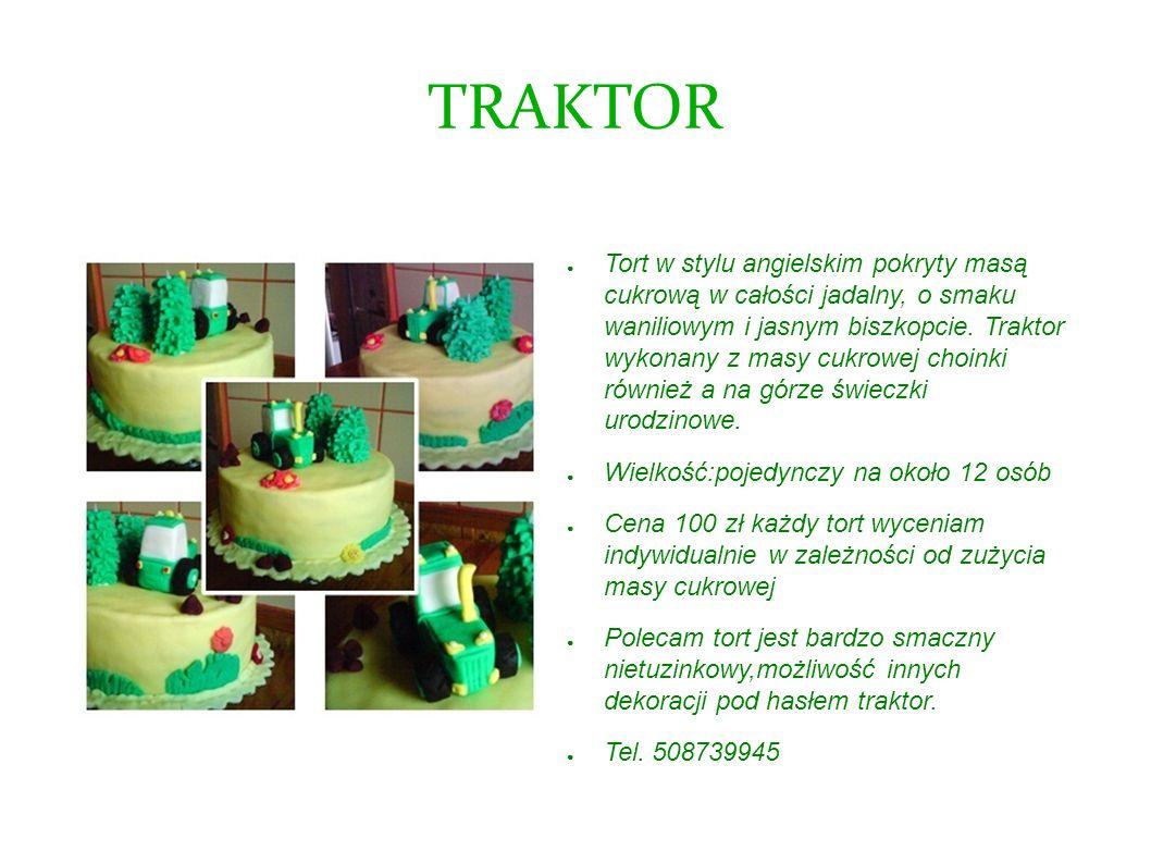 TRAKTOR Tort w stylu angielskim pokryty masą cukrową w całości jadalny, o smaku waniliowym i jasnym biszkopcie. Traktor wykonany z masy cukrowej choin
