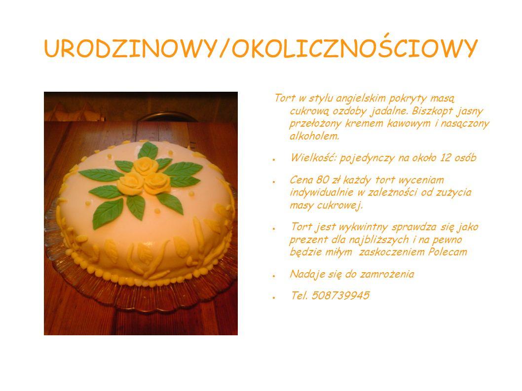 URODZINOWY/OKOLICZNOŚCIOWY Tort w stylu angielskim pokryty masą cukrową ozdoby jadalne. Biszkopt jasny przełożony kremem kawowym i nasączony alkoholem