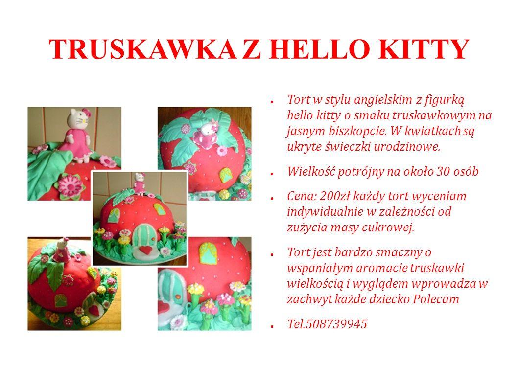 TRUSKAWKA Z HELLO KITTY Tort w stylu angielskim z figurką hello kitty o smaku truskawkowym na jasnym biszkopcie. W kwiatkach są ukryte świeczki urodzi