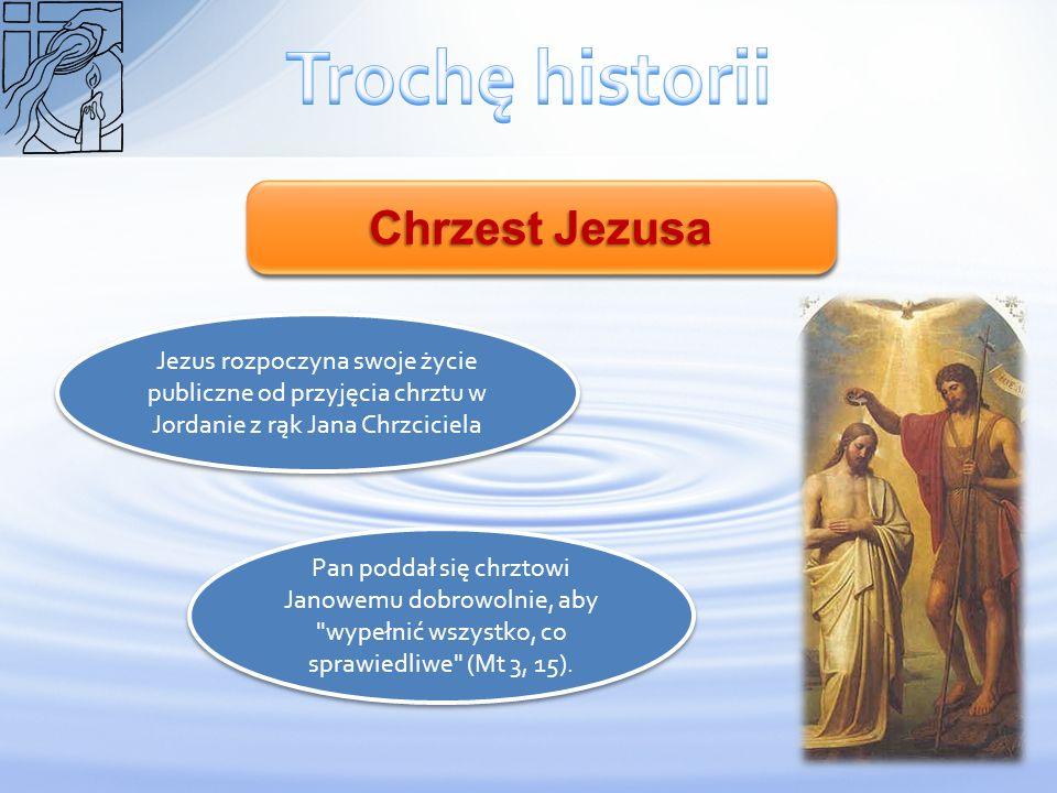 Chrzest Jezusa Jezus rozpoczyna swoje życie publiczne od przyjęcia chrztu w Jordanie z rąk Jana Chrzciciela Pan poddał się chrztowi Janowemu dobrowoln