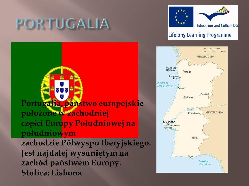 Portugalia, państwo europejskie położone w zachodniej części Europy Południowej na południowym zachodzie Półwyspu Iberyjskiego.