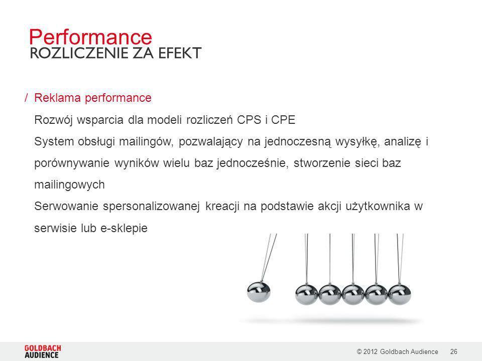 © 2012 Goldbach Audience26 /Reklama performance Rozwój wsparcia dla modeli rozliczeń CPS i CPE System obsługi mailingów, pozwalający na jednoczesną wy
