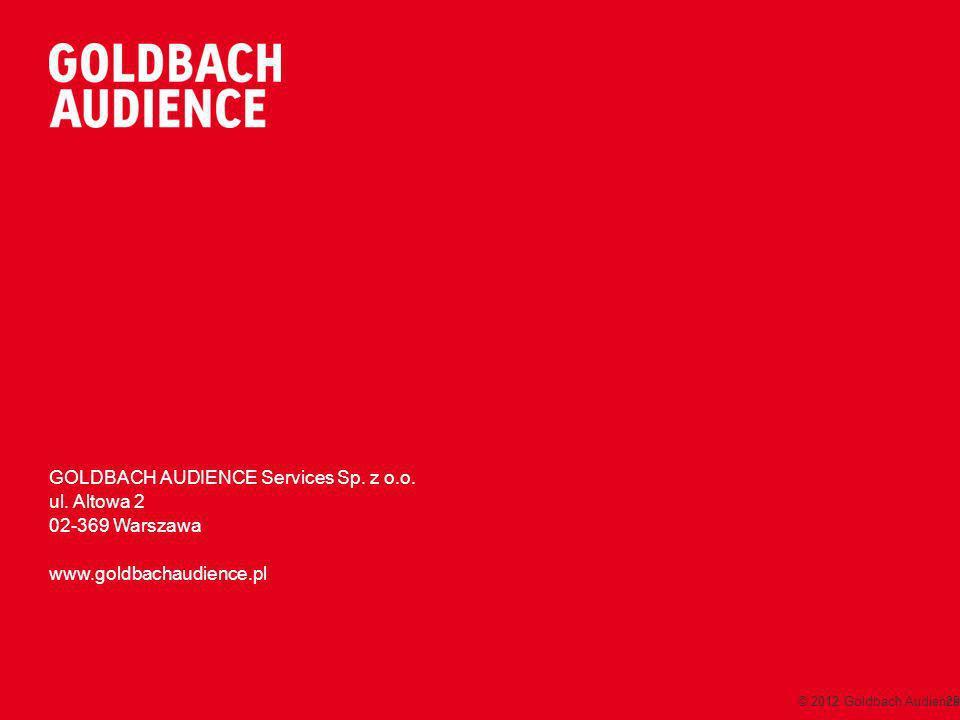 GOLDBACH AUDIENCE Services Sp. z o.o. ul. Altowa 2 02-369 Warszawa www.goldbachaudience.pl © 2012 Goldbach Audience29