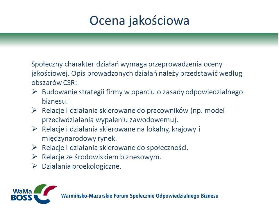 Ocena jakościowa Społeczny charakter działań wymaga przeprowadzenia oceny jakościowej. Opis prowadzonych działań należy przedstawić według obszarów CS