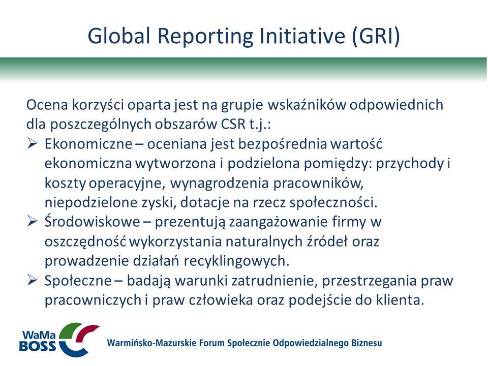 Global Reporting Initiative (GRI) Ocena korzyści oparta jest na grupie wskaźników odpowiednich dla poszczególnych obszarów CSR t.j.: Ekonomiczne – oce