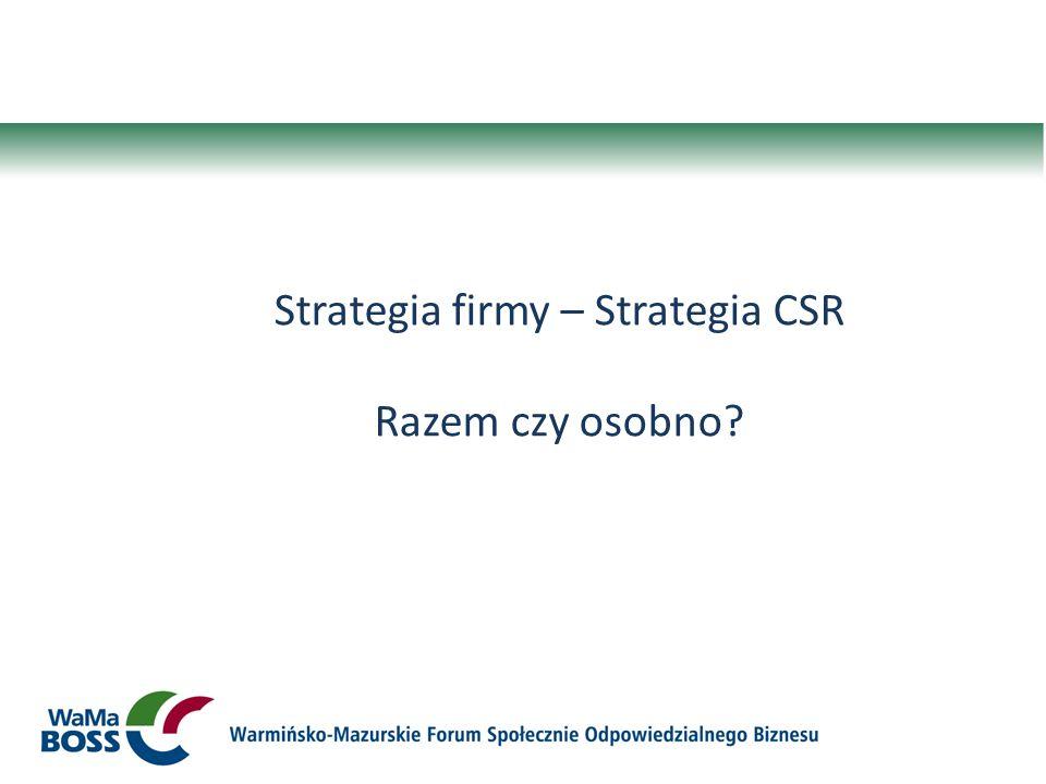 Strategia firmy – Strategia CSR Razem czy osobno?