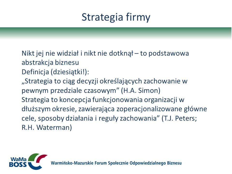 Strategia firmy Nikt jej nie widział i nikt nie dotknął – to podstawowa abstrakcja biznesu Definicja (dziesiątki!): Strategia to ciąg decyzji określaj