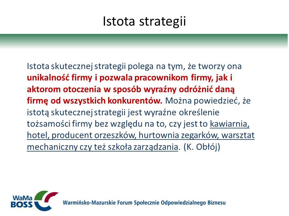 Istota strategii Istota skutecznej strategii polega na tym, że tworzy ona unikalność firmy i pozwala pracownikom firmy, jak i aktorom otoczenia w spos