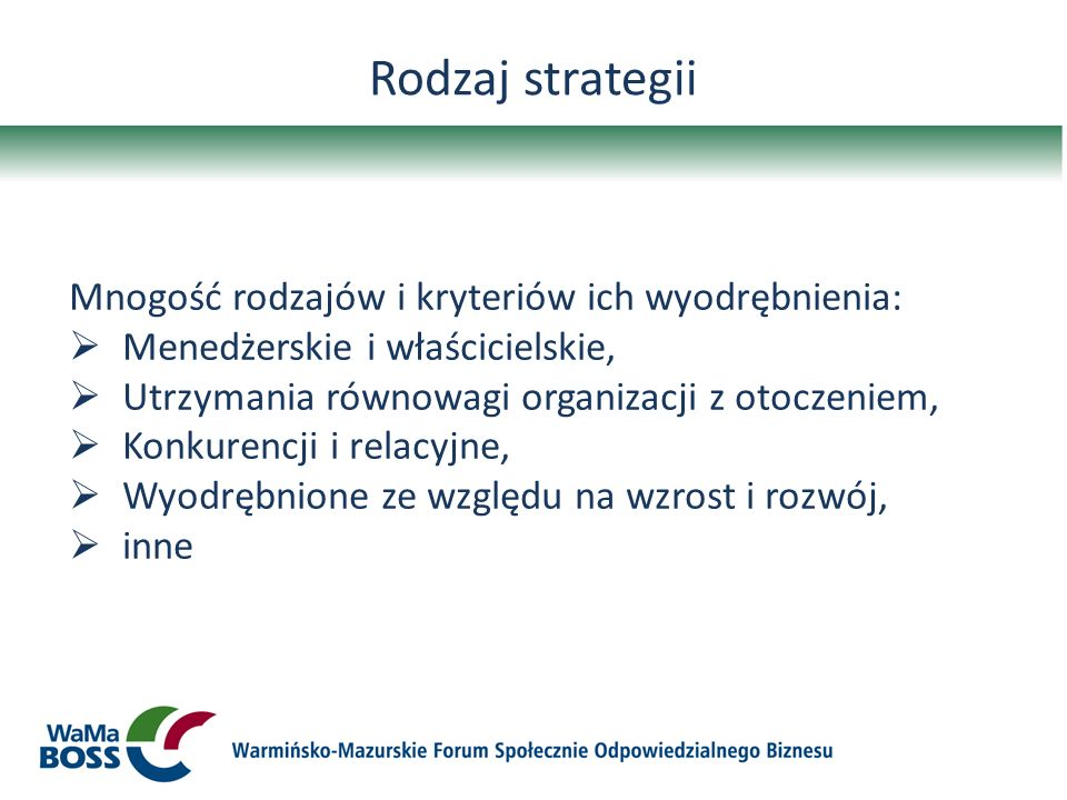 Rodzaj strategii Mnogość rodzajów i kryteriów ich wyodrębnienia: Menedżerskie i właścicielskie, Utrzymania równowagi organizacji z otoczeniem, Konkure