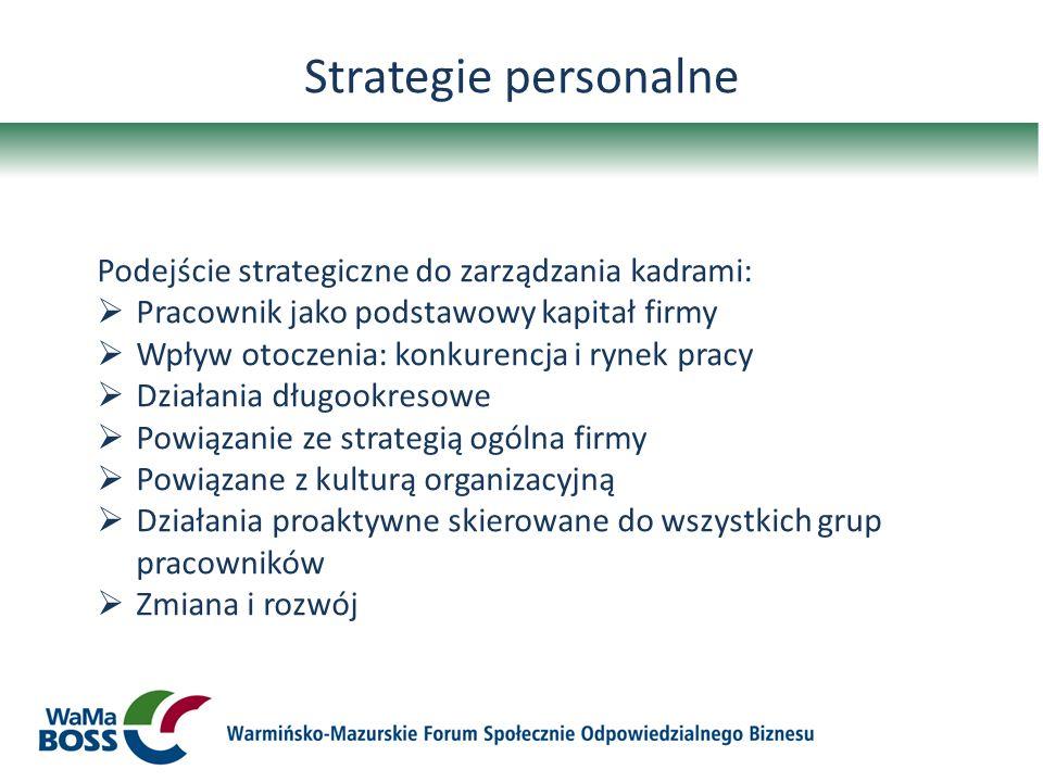 Strategie personalne Podejście strategiczne do zarządzania kadrami: Pracownik jako podstawowy kapitał firmy Wpływ otoczenia: konkurencja i rynek pracy