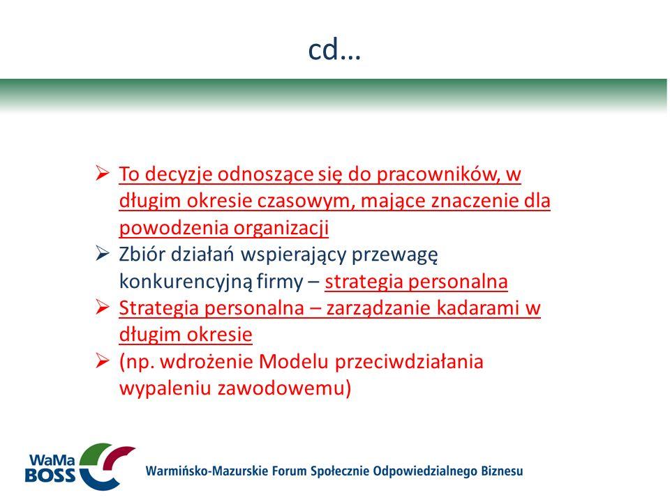 cd… To decyzje odnoszące się do pracowników, w długim okresie czasowym, mające znaczenie dla powodzenia organizacji Zbiór działań wspierający przewagę