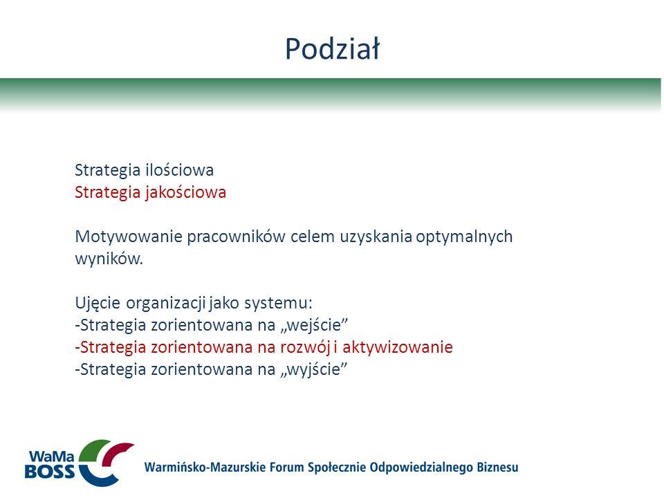 Podział Strategia ilościowa Strategia jakościowa Motywowanie pracowników celem uzyskania optymalnych wyników. Ujęcie organizacji jako systemu: -Strate
