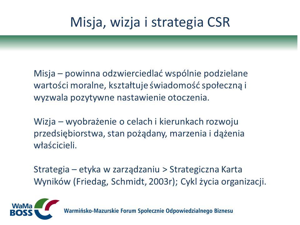 Misja, wizja i strategia CSR Misja – powinna odzwierciedlać wspólnie podzielane wartości moralne, kształtuje świadomość społeczną i wyzwala pozytywne