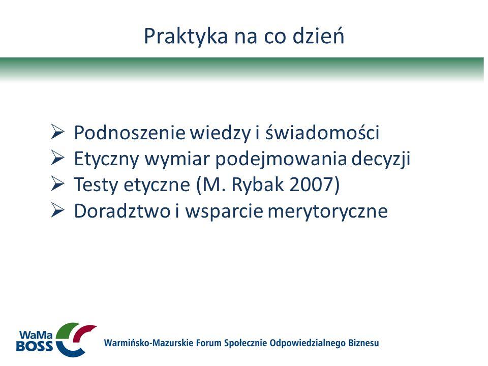 Praktyka na co dzień Podnoszenie wiedzy i świadomości Etyczny wymiar podejmowania decyzji Testy etyczne (M. Rybak 2007) Doradztwo i wsparcie merytoryc