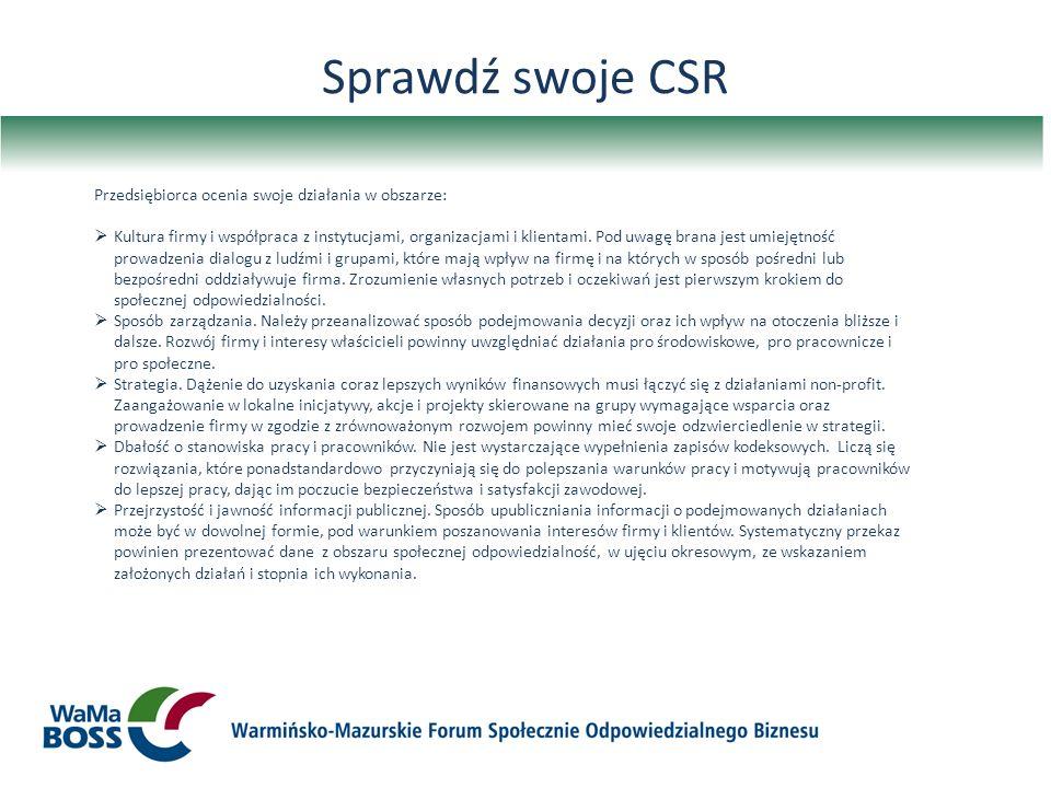 Sprawdź swoje CSR Przedsiębiorca ocenia swoje działania w obszarze: Kultura firmy i współpraca z instytucjami, organizacjami i klientami. Pod uwagę br