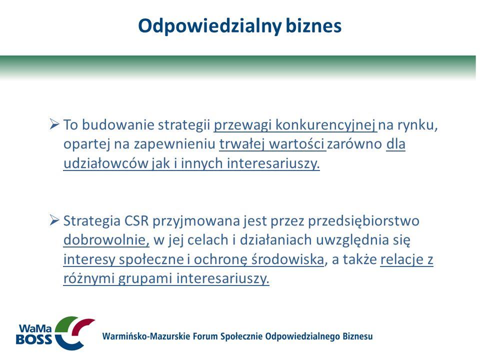 Odpowiedzialny biznes To budowanie strategii przewagi konkurencyjnej na rynku, opartej na zapewnieniu trwałej wartości zarówno dla udziałowców jak i i