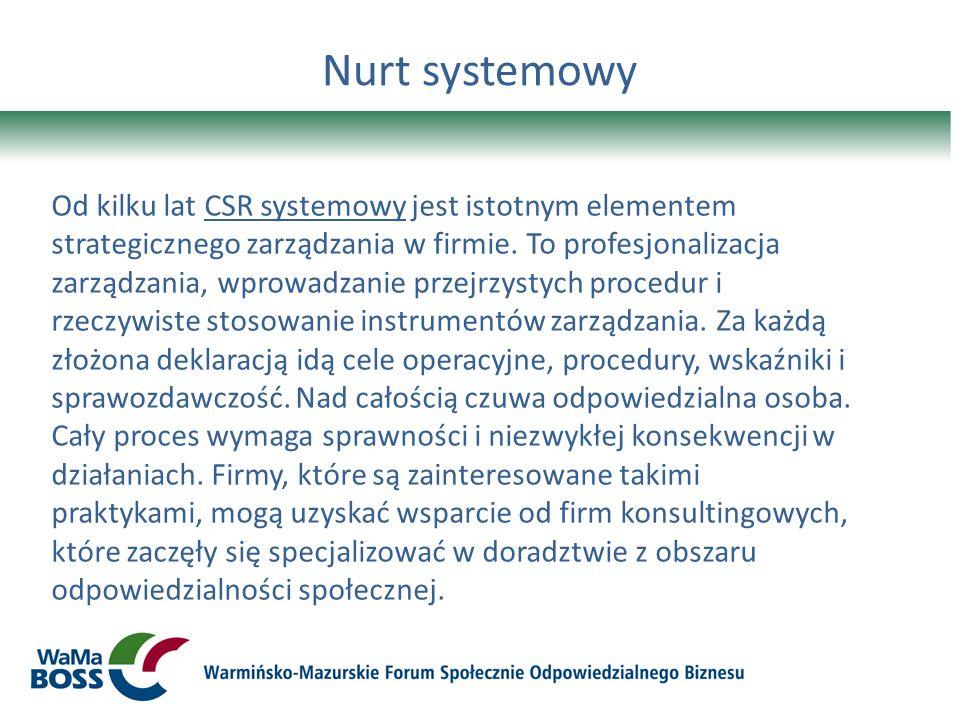 Nurt systemowy Od kilku lat CSR systemowy jest istotnym elementem strategicznego zarządzania w firmie. To profesjonalizacja zarządzania, wprowadzanie