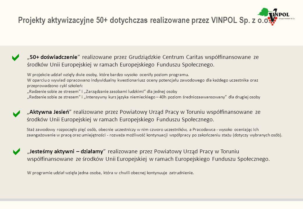 Projekty aktywizacyjne 50+ dotychczas realizowane przez VINPOL Sp. z o.o. Jesteśmy aktywni – działamy realizowane przez Powiatowy Urząd Pracy w Toruni
