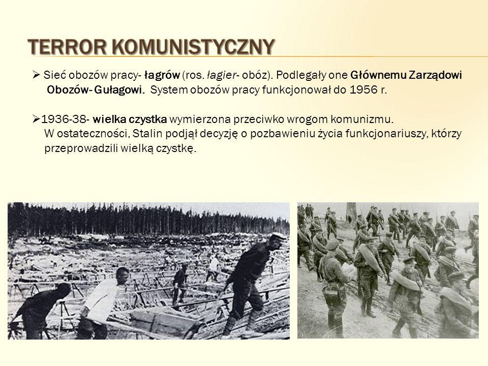 Sieć obozów pracy- łagrów (ros. łagier- obóz). Podlegały one Głównemu Zarządowi Obozów- Gułagowi. System obozów pracy funkcjonował do 1956 r. 1936-38-