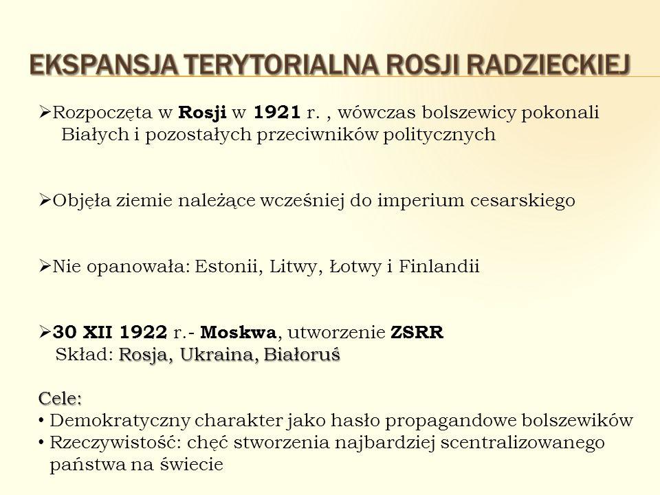 Rozpoczęta w Rosji w 1921 r., wówczas bolszewicy pokonali Białych i pozostałych przeciwników politycznych Objęła ziemie należące wcześniej do imperium