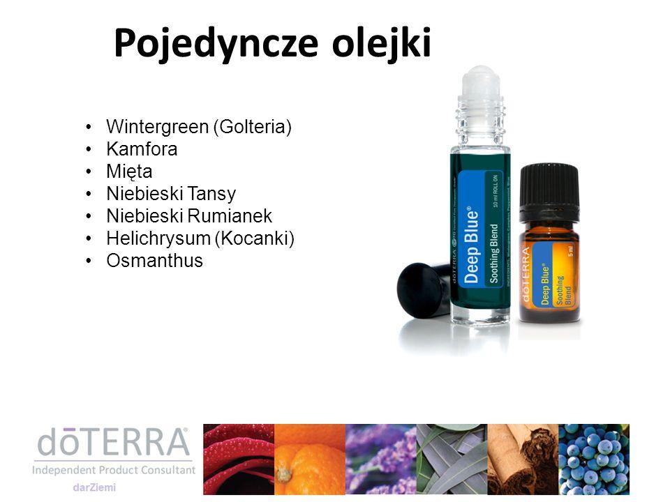 Wintergreen (Golteria) Kamfora Mięta Niebieski Tansy Niebieski Rumianek Helichrysum (Kocanki) Osmanthus Pojedyncze olejki