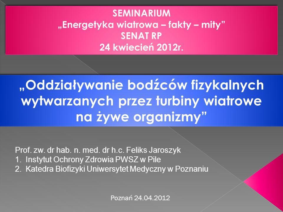 Poznań 24.04.2012 SEMINARIUM Energetyka wiatrowa – fakty – mity SENAT RP 24 kwiecień 2012r. SEMINARIUM Energetyka wiatrowa – fakty – mity SENAT RP 24