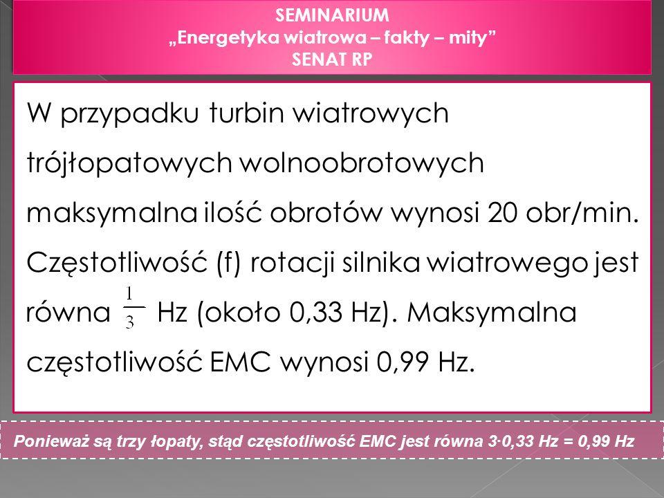 SEMINARIUM Energetyka wiatrowa – fakty – mity SENAT RP SEMINARIUM Energetyka wiatrowa – fakty – mity SENAT RP W przypadku turbin wiatrowych trójłopato