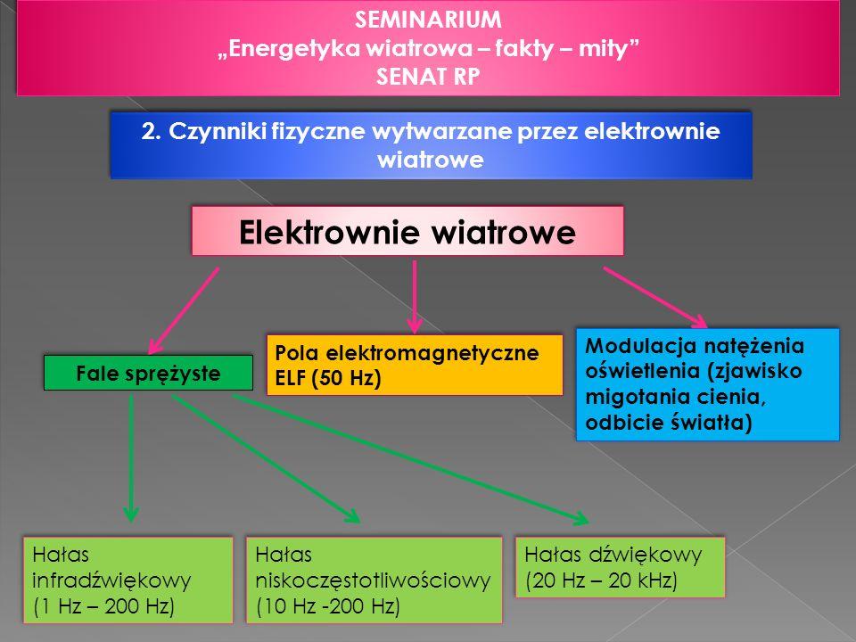 2. Czynniki fizyczne wytwarzane przez elektrownie wiatrowe SEMINARIUM Energetyka wiatrowa – fakty – mity SENAT RP SEMINARIUM Energetyka wiatrowa – fak