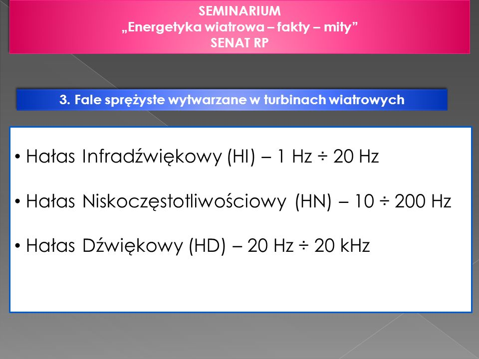 3. Fale sprężyste wytwarzane w turbinach wiatrowych SEMINARIUM Energetyka wiatrowa – fakty – mity SENAT RP SEMINARIUM Energetyka wiatrowa – fakty – mi