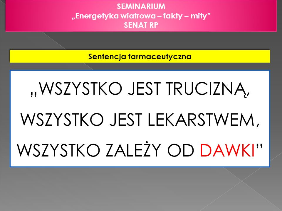 SEMINARIUM Energetyka wiatrowa – fakty – mity SENAT RP SEMINARIUM Energetyka wiatrowa – fakty – mity SENAT RP Tabela 1.