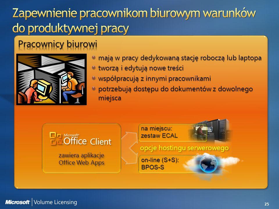 25 opcje hostingu serwerowego Client zawiera aplikacje Office Web Apps na miejscu: zestaw ECAL on-line (S+S): BPOS-S mają w pracy dedykowaną stację ro