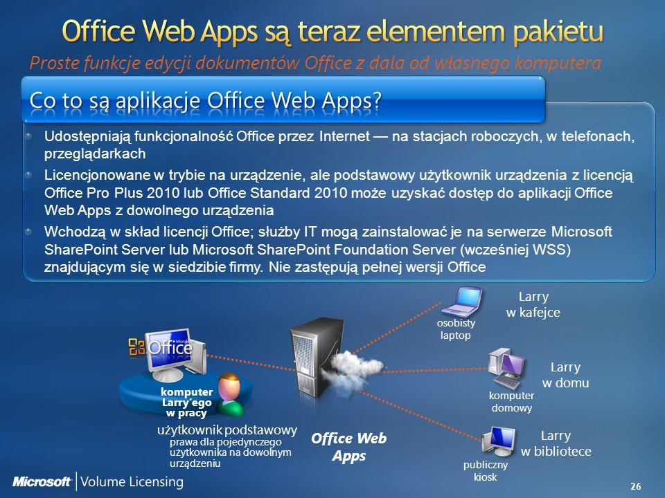26 Udostępniają funkcjonalność Office przez Internet na stacjach roboczych, w telefonach, przeglądarkach Licencjonowane w trybie na urządzenie, ale po
